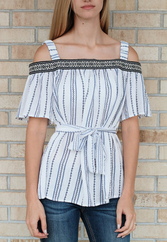 Cold Shoulder Top-White
