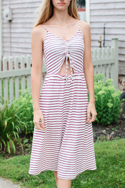 Cut Out Midi Dress-Purple Striped
