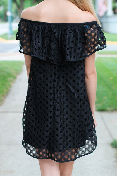 Off Shoulder Mini Dress- Black