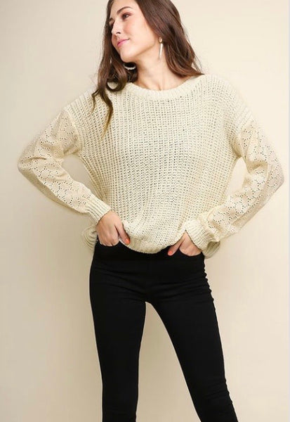Long Poplin Lace Sleeve Sweater-Cream