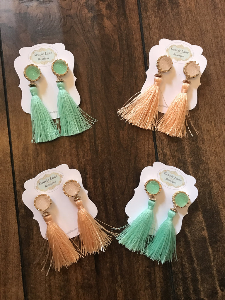 Tassel Earrings-Mint and Peach