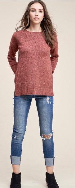 Marled Sweater-Rust