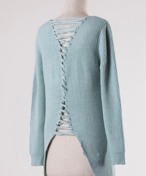 Cable Knit Sweater-Powder Sage
