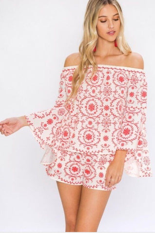 Off Shoulder Bell Sleeve Top- White/Red