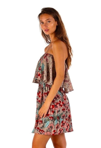 Floral Open Back Dress-Floral