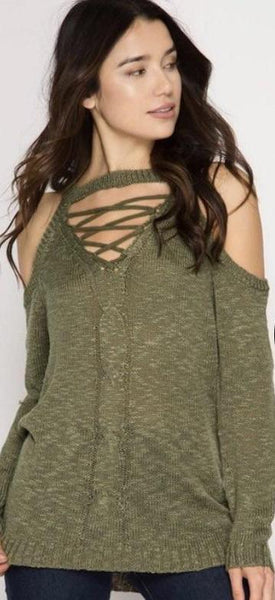 Lace Up Cold Shoulder Sweater-Olive