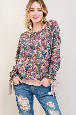 Floral Velvet Sweater Top-Beige