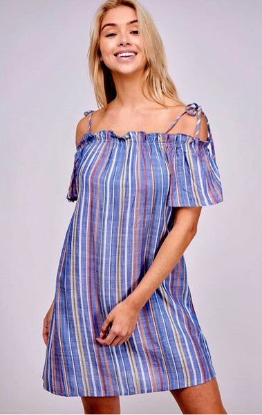 Striped Dress-Blue