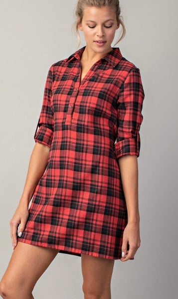 Plaid Shirt Dress-Red Mix