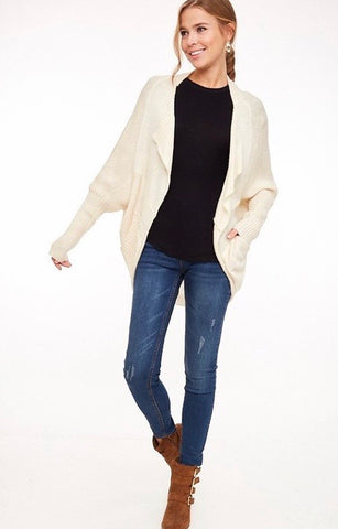 Draped Collar Dolman Cardigan-Off White
