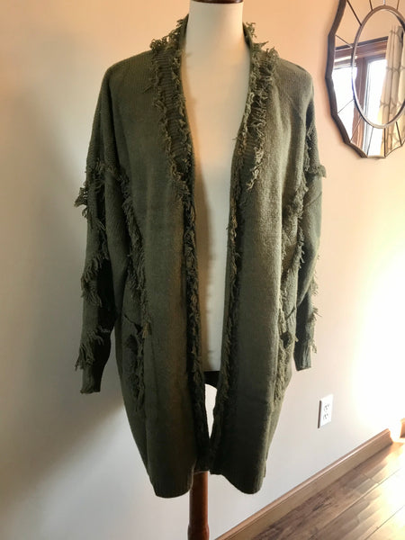 Fringe Cardigan-Green