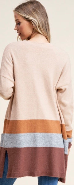 Fluffy Color Block Cardigan- Beige/H.Grey