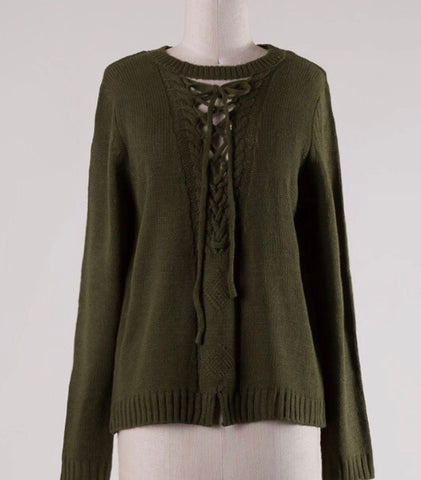 Ribbed Lace-Up  Sweater-Olive Green