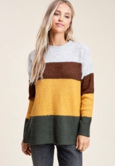 Colorblock Sweater-H.Grey/Copper