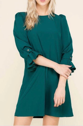 Ruffle Sleeve Dress-Hunter Green Deal of the day!! All sales final!!