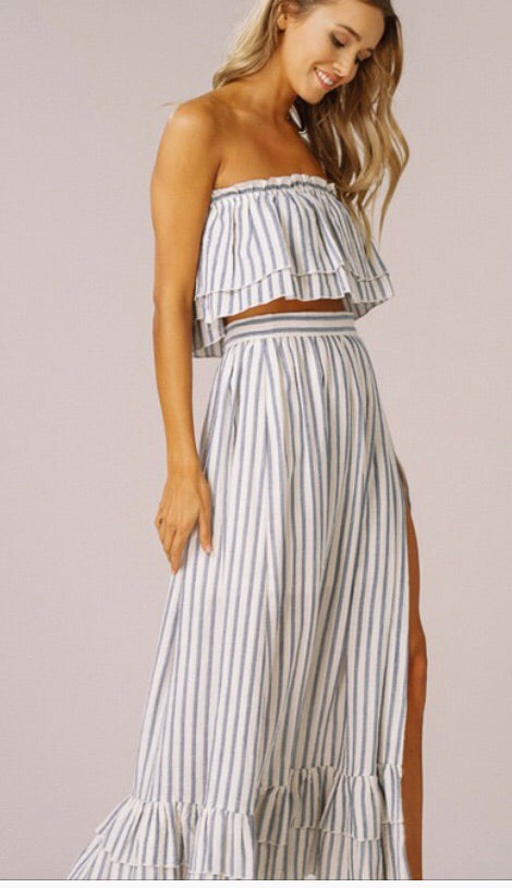ba312fb16d2 Striped Layered Top and Skirt Set-Blue