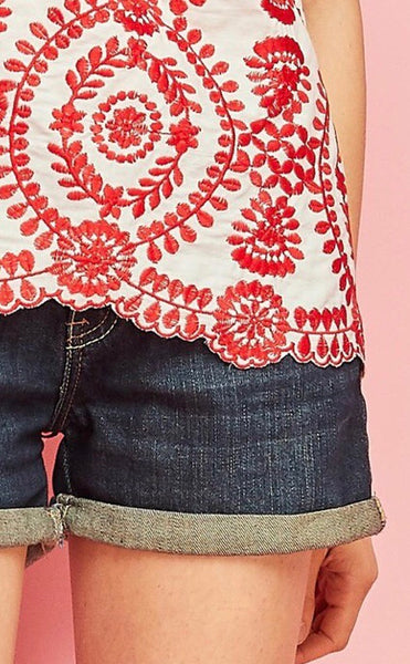 Off Shoulder Embroidered Top-Red