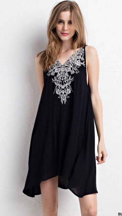 Floral Embroidered Low Back Dress/Tunic-Black
