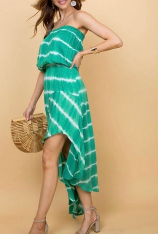 Tie Dye Dress-Green