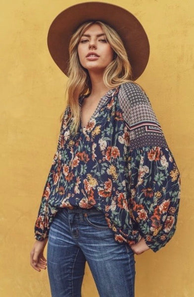 Floral Print Top-Navy Mix