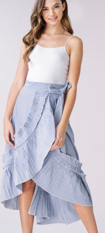 Striped Ruffle Wrap Skirt-Blue