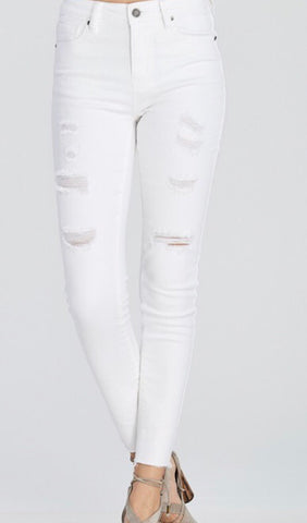 Distressed Denim Skinny Jeans-White