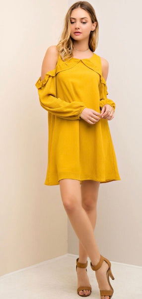 Open Shoulder Shift Dress-Mustard