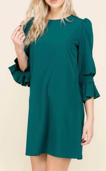 Ruffle Sleeve Dress-Hunter Green