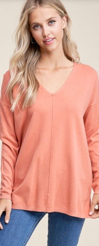V-Neck Sweater-Salmon