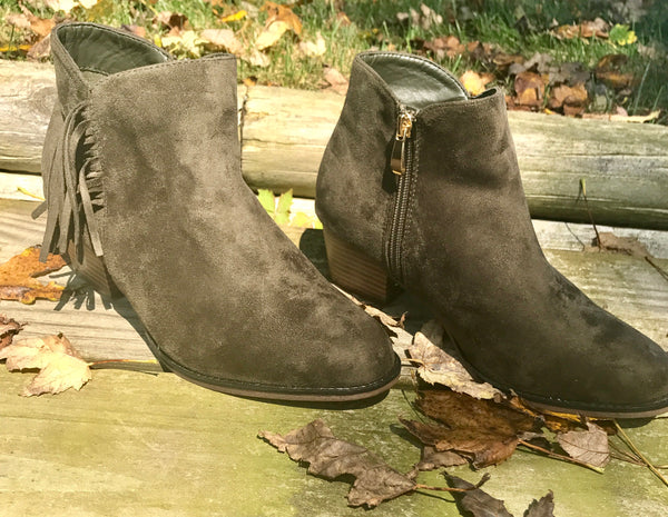 Tassel Booties-Olive Green