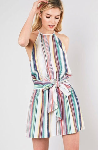 Striped Smocked Waist Dress-Multi