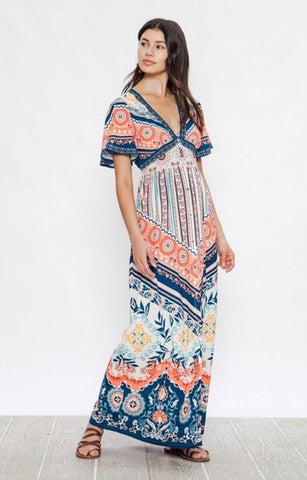 Button Down Maxi Dress-Multi