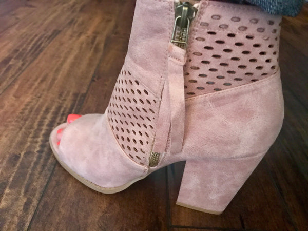 Peep-Toe Booties-Blush