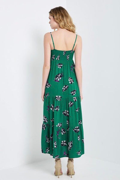 Tie Front Maxi Dress-Green