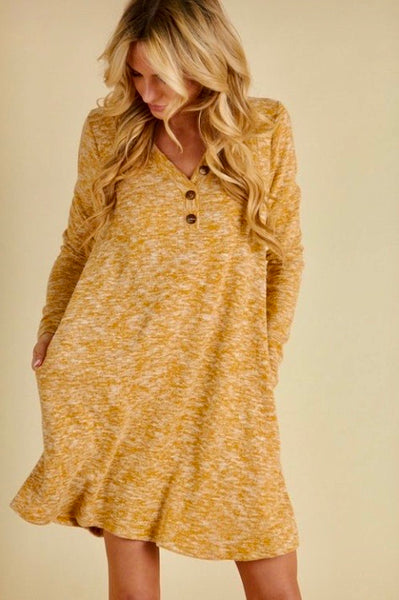 V-neck Button Dress-Two-tone Mustard