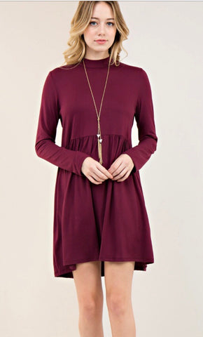 Babydoll Mock Neck Dress-Eggplant