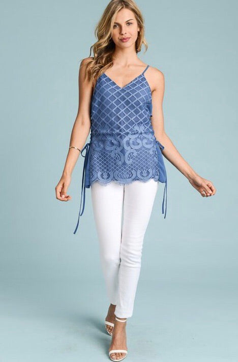 Lace Side Tie Top-Arctic Blue