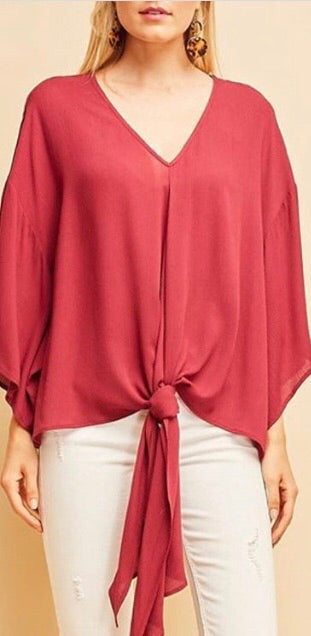 Deep V-Neck Top-Wine