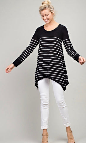 Long Sleeve Striped Sweater-Black & White