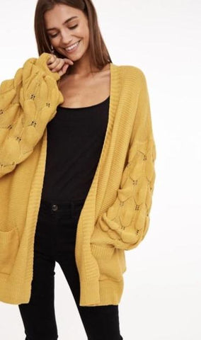 Bubble Sleeve Open Front Cardigan-Mustard
