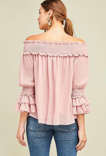 Off Shoulder Blouse-Blush