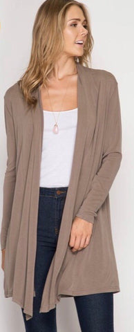 Long Sleeve Cardigan-Iced Mocha