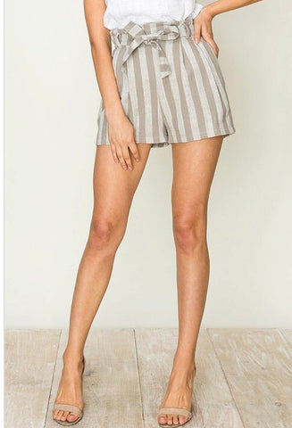 Striped Shorts-Beige/Cream