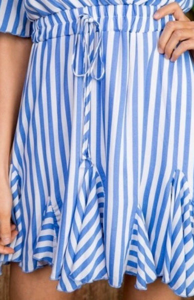 Short Sleeve Striped Ruffle Dress-Blue & White
