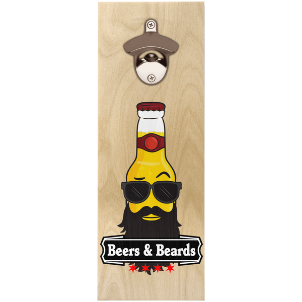 """Beers & Beards"" Wooden Bottle Openers"