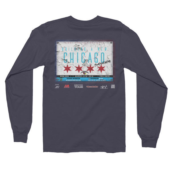 """Building A New Chicago Showcase"" Long sleeve t-shirt (unisex)"