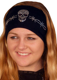 Stretch Headband-Skull w/Barbed Wire Rhinestones on Black