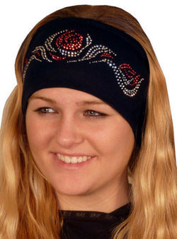 Stretch Headband-Red Flaming Roses Rhinestuds on Black