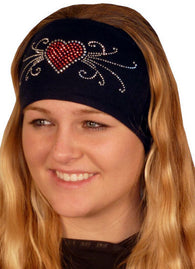 Stretch Headband-Red Heart w/Swirls Rhinestuds on Black