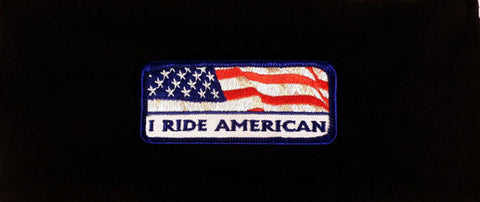 Stretch Headband-I Ride American Patch on Black